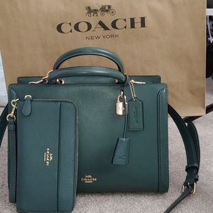 Coach- Alpine Green Satchel Purse Set